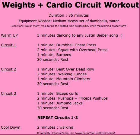 Minute Full Body Cardio Weights Workout Circuit