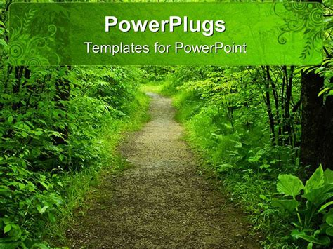 template forest powerpoint template view of a forest showing a foot path and trees 23127