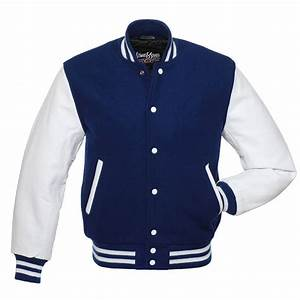 stewart strauss navy blue wool white leather varsity With athletic letter jackets