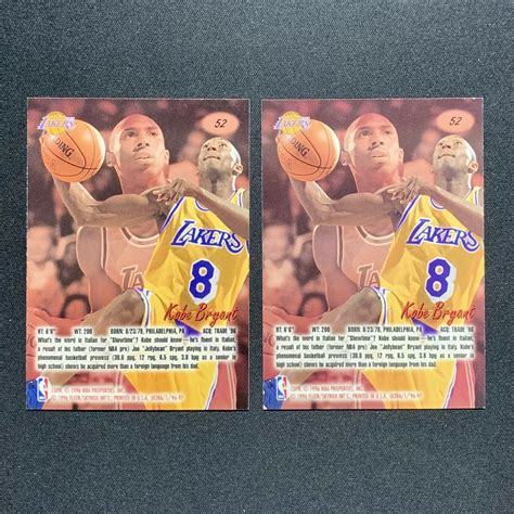 The fact that this card exists is hilarious. (2x) 1996-97 Fleer Ultra Kobe Bryant rookie card #52 Lot ...