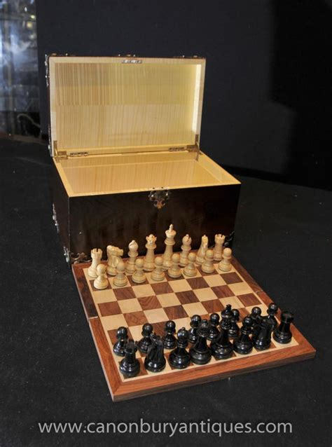 rosewood chess set box  board howell james  london games