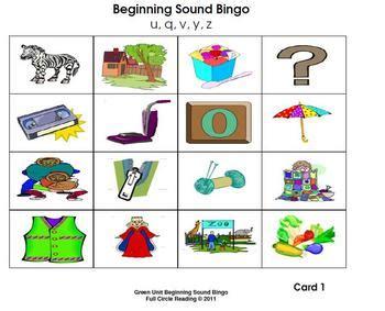 beginning sounds  letters bingo cards   denise
