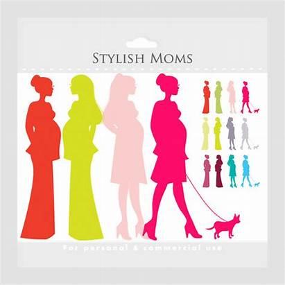Clip Pregnant Clipart Pregnancy Mom Moms Chic