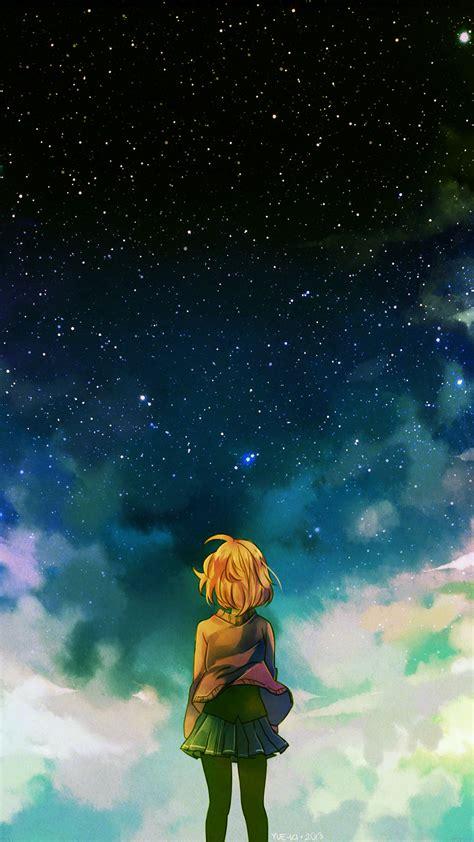 ad starry night illust anime girl papersco