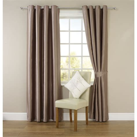 wilko faux silk eyelet curtains mink 228 x 228cm at wilko