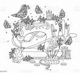 Coloring Sewing Machine Bird Vector Flowers Covered Adult Illustration Drawing sketch template
