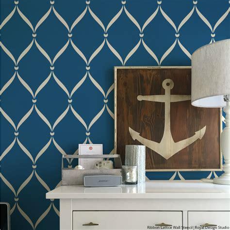 modern bathroom decor ideas ribbon lattice wall stencils for decorating home decor