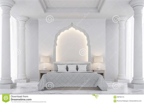 luxury white bedroom  rendering image stock illustration