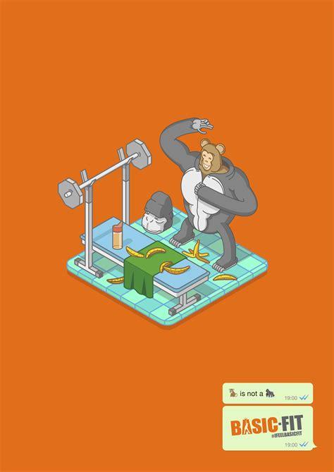 basic fit print advert  indira monkey ads   world