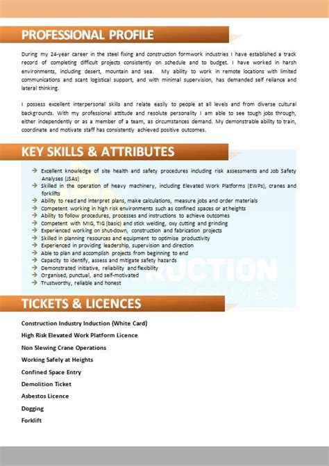 Resume For Skilled Tradesmen by Skilled Trade Resume 024 Construction Resumes