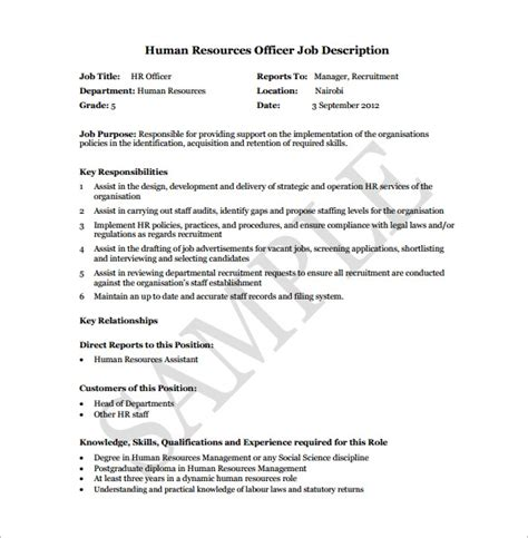 Officer Description Template Hr Officer Description Template Invitation Template