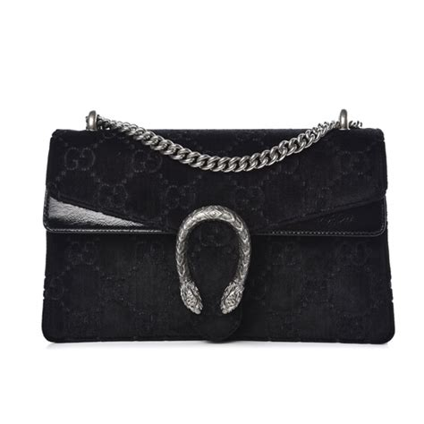 gucci gg monogram velvet small dionysus shoulder bag black