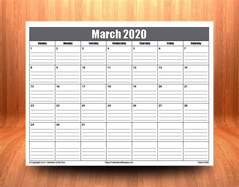printable march  calendar  lines