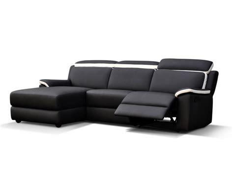 vente canapé pas cher canapé d 39 angle relax en simili souffle noir et blanc