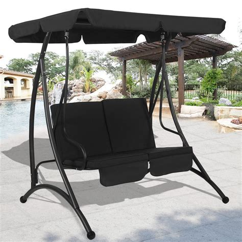 patio swing chair 2 person canopy swing chair patio hammock seat cushioned