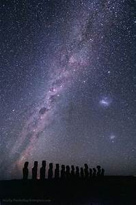 Silhouetted against the southern Milky Way and starry sky ...