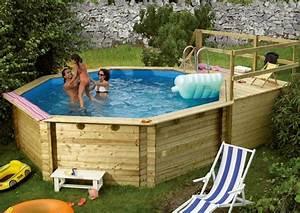 Pool Mit Holz : karibu pool holz swimmingpool achteck modell b1 400 x 480 cm kdi inkl sonnenterrasse ~ Orissabook.com Haus und Dekorationen