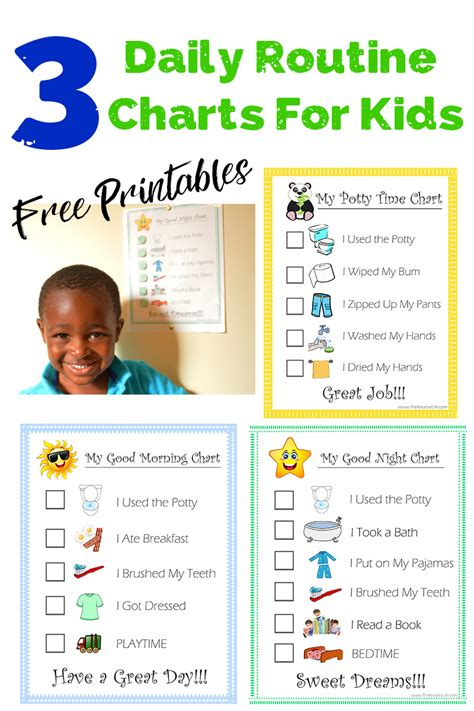 daily child routine charts printables  kreative life