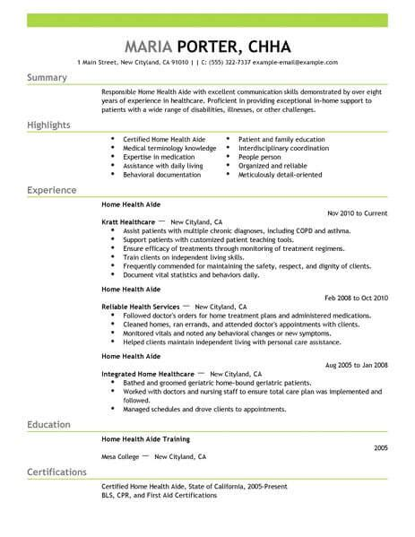 Home Care Provider Resume by Best Home Health Aide Resume Exle Livecareer