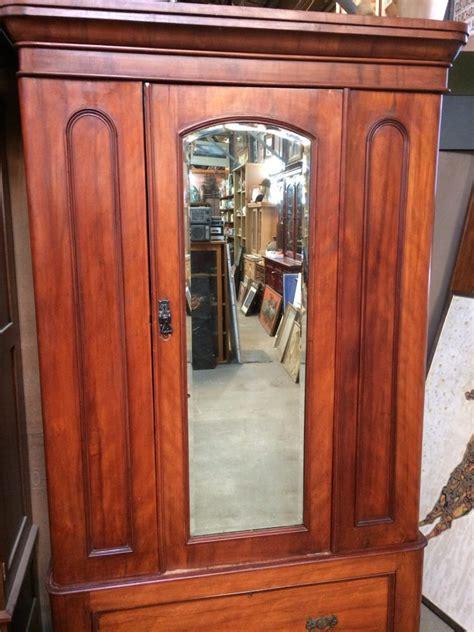 antique victorian  door wardrobe bevelled edge mirror