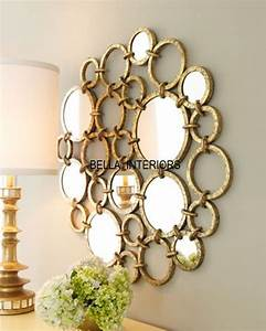 New neiman marcus metal gold mirror ring circles wall art