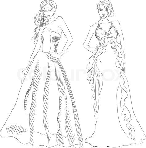 black  white sketch   beautiful young girls