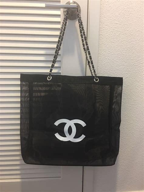 chanel beauty vip gift mesh tote beach bag  chain