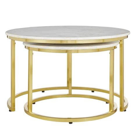 Metal frame is electroplated in antique brass. Home Decorators Collection Cheval Gold Metal Nesting Coffee Tables with Marble Top (Set of 2 ...