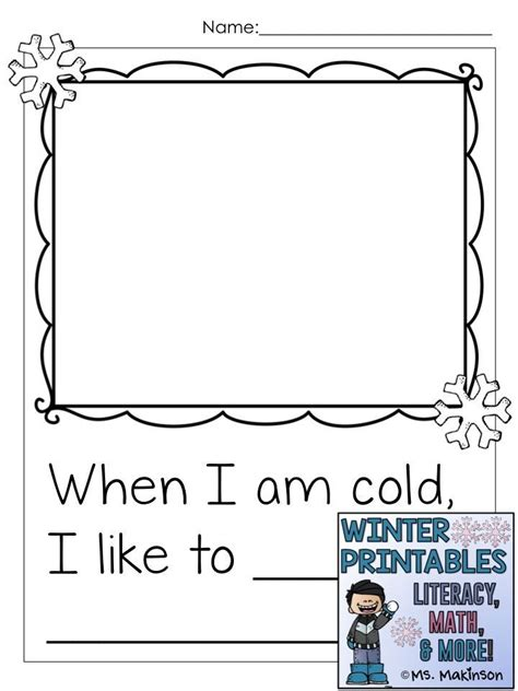 winter printables literacy math science classroom