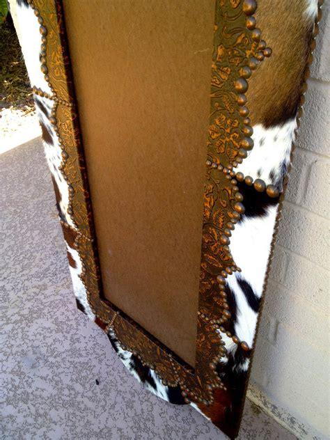 fancy full length wood western cowhide leather mirror