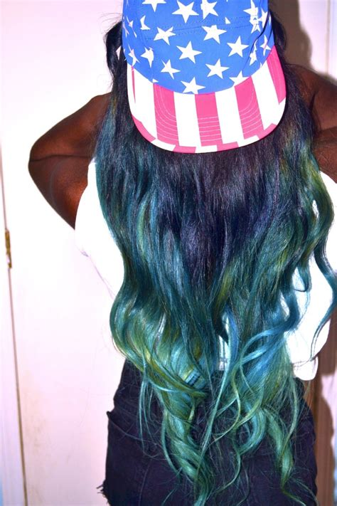 Green And Blue Ombre Dip Dyed Hair Sew In Ideas
