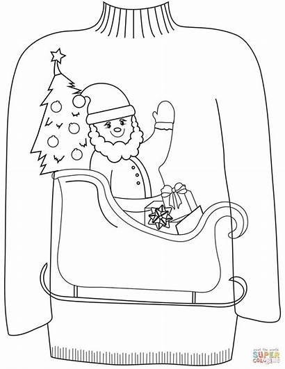 Ugly Sweater Coloring Christmas Pages Santa Sleigh
