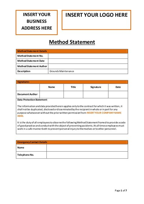 electrical installation method statement template free grounds maintenance method statement