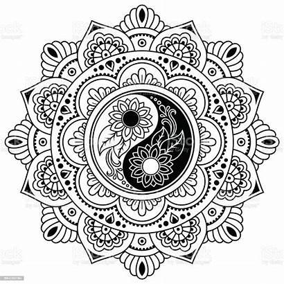 Symbol Mehndi Mandala Henna Decorative Vector Coloring