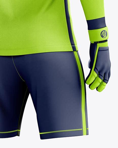 The full shorts mockup templates pack includes: Men's Full Soccer Goalkeeper Kit mockup (Hero Back Shot ...