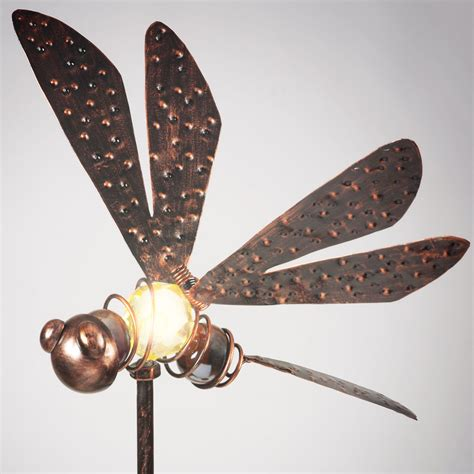 garden glows solar powered bronzed dragonfly garden stake