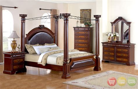 queen poster canopy bed  bedroom furniture set