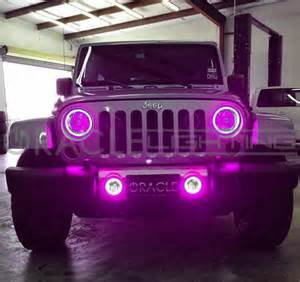 light pink jeep 2007 2015 jeep wrangler jk oracle led headlight fog light