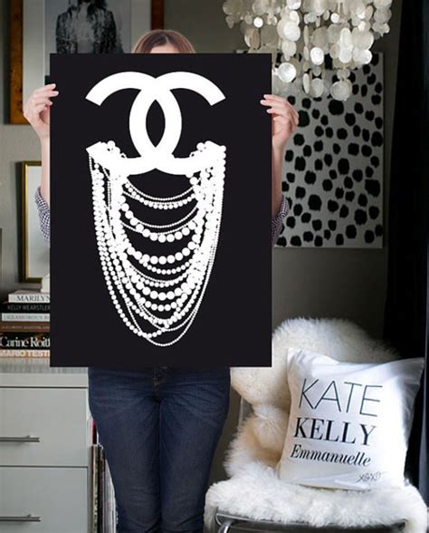 chanel themed bedroom decor my chanel print poster inspired cc pearl on polyvore