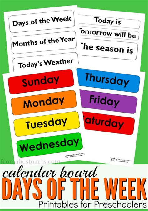 Days of the Week Calendar Board Printable   From ABCs to ...