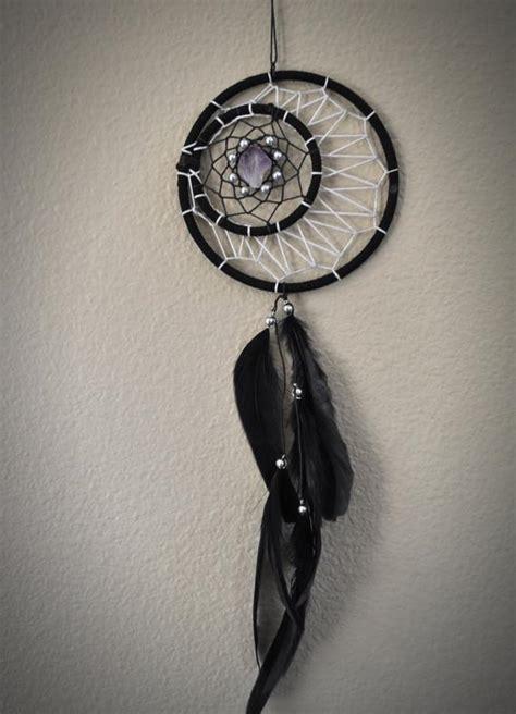 dream catcher black crescent moon  amethyst