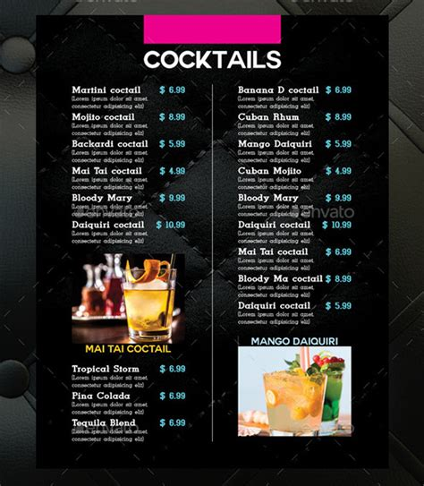 Cocktail Menu Templates  54+ Free Psd, Eps Documents