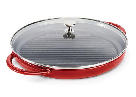 staub steam grill  glass lid  cherry red cutlery