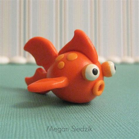 polymer clay orange goldfish figurine miniature