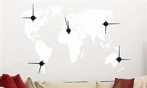 Wandtattoo Weltkarte Uhr : wandtattoo uhr wanduhr zeitzonen weltkarte kontinente wohnzimmer dekouhr ebay ~ Sanjose-hotels-ca.com Haus und Dekorationen