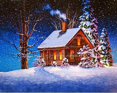 Cabin Winter Night Snow Cozy Holiday Xmas