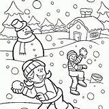 Nature Winter Coloring Season Pages sketch template