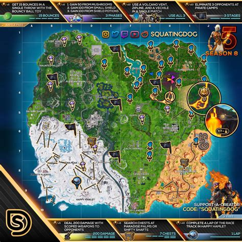 fortnite week 5 challenges fortnite sheet map for season 8 week 5 challenges