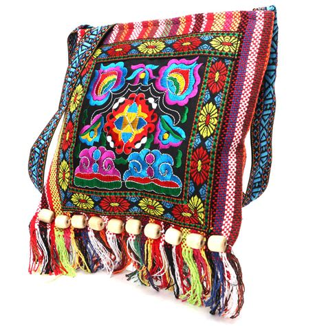 hmong vintage chinese national style ethnic shoulder bag embroidery boho hippie tassel tote