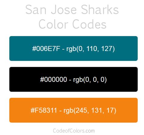 san jose sharks colors san jose sharks colors hex and rgb color codes